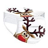 OVERMALL 50 Stück Weihnachtsmaske Erwachsene Mundschutz mit Motiv Einweg Bandana,DREI Schichten Ohrhaken Mund und Nasenschutz Multifunktionstuch Halstuch für Herren Damen