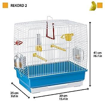 Ferplast Cage Rectangulaire pour Petits Oiseaux Exotiques et Canaris Rekord 2 Petite Cage pour Oiseaux Équipée D'Accessoires et de Mangeoires Tournantes Bleu, 39 X 25 X H 41 cm
