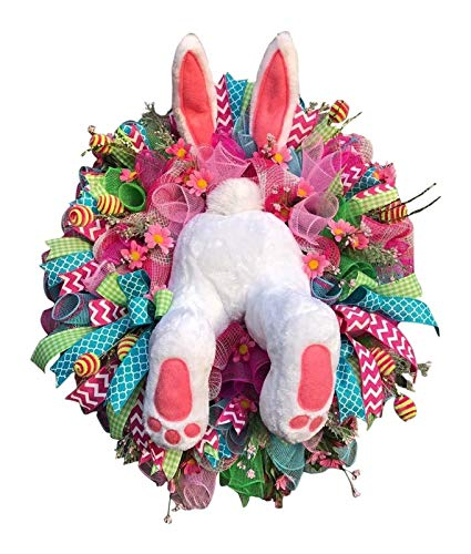 Easter Bunny Butt Rabbit Wreath Decor Ears Wreath for Front Door, Rabbit Shape Garland Wall Decor Easter Decorations Craft Supplies