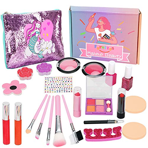 FORMIZON 21 Piezas Kit de Maquillaje Niñas, Juego de Maquillaje para Niños para Niñas, Maquillaje Niñas Set Maletin, Kit de Juguete de Maquillaje Lavable para Cumpleaños, Navidad