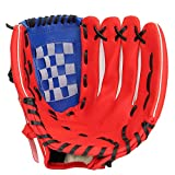 Baseball Glove Soft Solid PU Leather Thickening Pitcher Softball Gloves for Teens Adult Professional Baseball Mitt Catching(11.5 inch-Red)