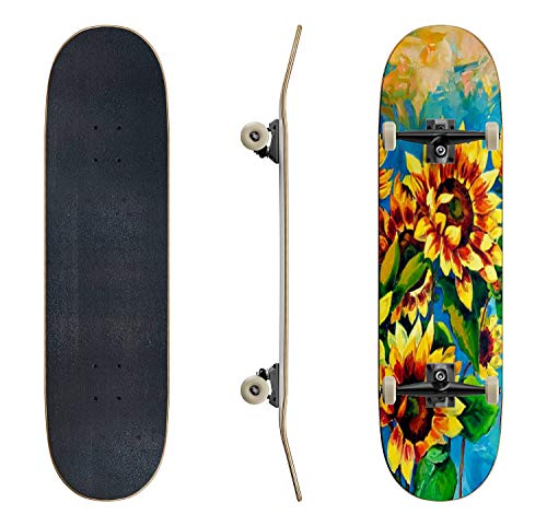EFTOWEL Skateboards Sunflowers Sunflower Stock Illustrations Classic Concave Skateboard Cool Stuff Teen Gifts Longboard Extreme Sports for Beginners and Professionals