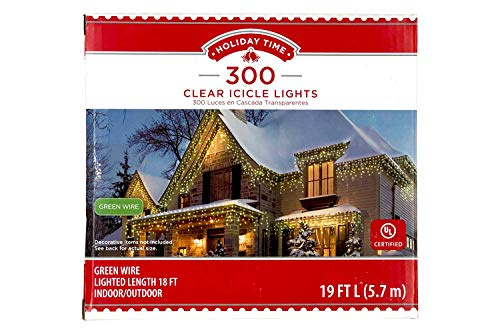 Holiday Times 300-count Icicle Outdoor String Lights Christmas Lights, Clear with Wire (Green Wire)