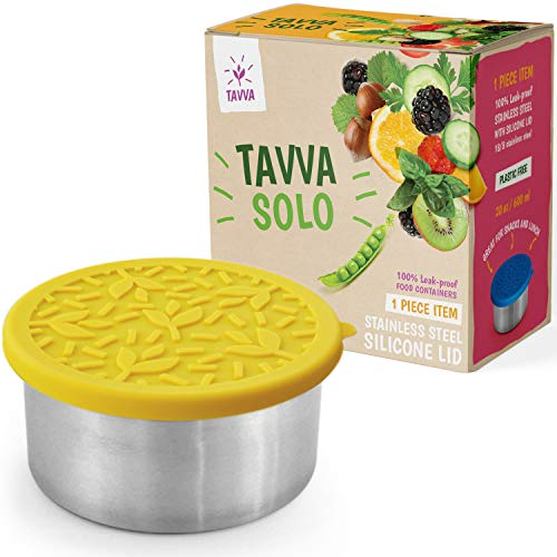 TAVVA Stainless Steel Salad Container for Lunch - 20oz Stainless Steel Lunch Container with Leakproof Food-grade Silicone Lid – Also Suitable as Kids Lunch Box Toddler Lunch Box Sandwich Container