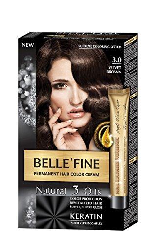 BELLE'FINE® Black Series - Luxuriöse natürliche Haarfärbecreme - langanhaltende Farbe - mit 3 Ölen & Keratin - SAMTBRAUN