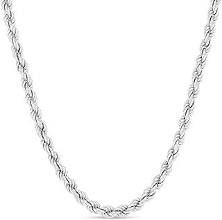 Collar de cadena de plata de ley con corte de diamante, collar de cadena trenzada de 1 mm, 2 mm, 3 mm, 4 mm, collar de pla...