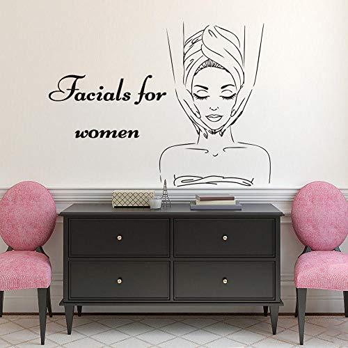 Stickers muraux Soins du visage Femme Logo Sticker Mural Spa Salon de Beauté Décoration Centre de Soins de La Peau Vinyle Peinture Murale Corps Relaxation Massage Stickers 77x57 cm