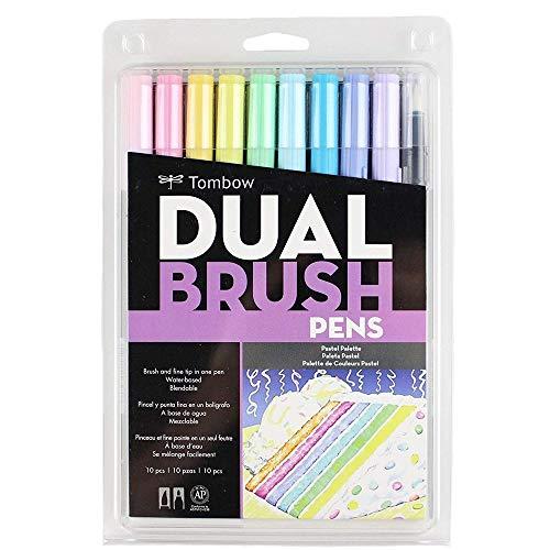 Estojo Dual Brush com 10 Canetas Pincéis, Cores Pastéis