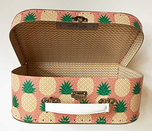 Sass and Belle Koffer/Kinderkoffer/Puppenkoffer/Aufbewahrungsbox. Pappkoffer, 3 Verschiedene Größen. (Ananas/Tropical Summer, Mittel)