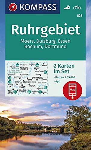 KOMPASS Wanderkarte Ruhrgebiet: 2 Wanderkarten 1:35000 im Set inklusive Karte zur offline Verwendung in der KOMPASS-App. Fahrradfahren. (KOMPASS-Wanderkarten, Band 823)