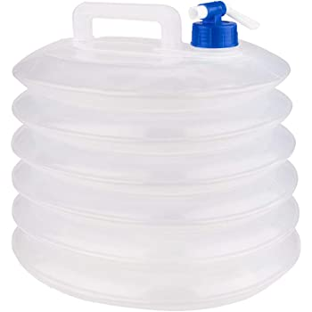 RELAXDAYS Juego 4 garrafas cuadradas de Agua Plegables con Grifo y asa; garrafa Plegable para Camping sin BPA y Apta para Alimentos
