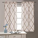 jinchan Short Curtains for Bathroom Moroccan Print Linen Textured Look Half Window Covering for Kitchen Window Treatments 1 Pair 26' W x 24' L Taupe