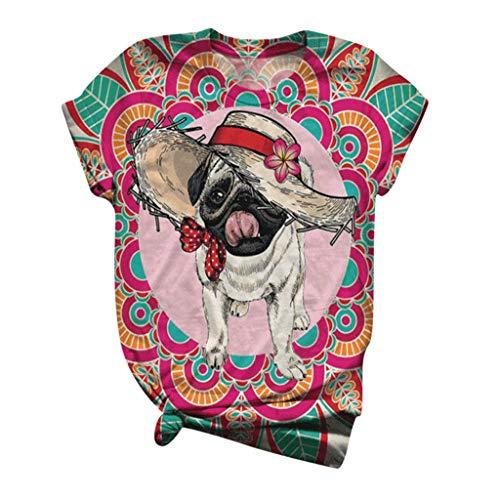 Dasongff Damen T-Shirts Sommer Lustig Stilvoller Hund Tier Gedruckt Bunter RetroKurzarm Rundhals Oberteile Tops Frauen Bluse Tunika Pullover Pulli Hemd Womens Oversize Blouse Tee Sweatshirts