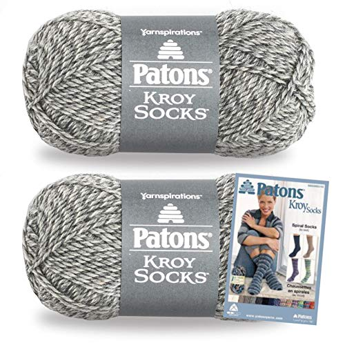 Patons Kroy Socks Yarn, 2-Pack, Grey Marl Plus Pattern