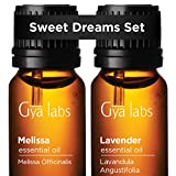 Melissa Oil & Lavender Oil - Gya Labs Sweet Dreams Set for Restful, Stress-Free Bedtimes - 100% Pure Therapeutic Grade Essential Oils Set - 2x10ml
