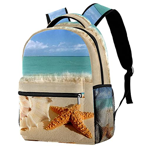 Estrella de mar Concha de Playa Mochila para Adolescentes Mochila Ligera E Impermeable para La Escuela De Viajes De Senderismo Al Aire Libre 11.5x8x16 in
