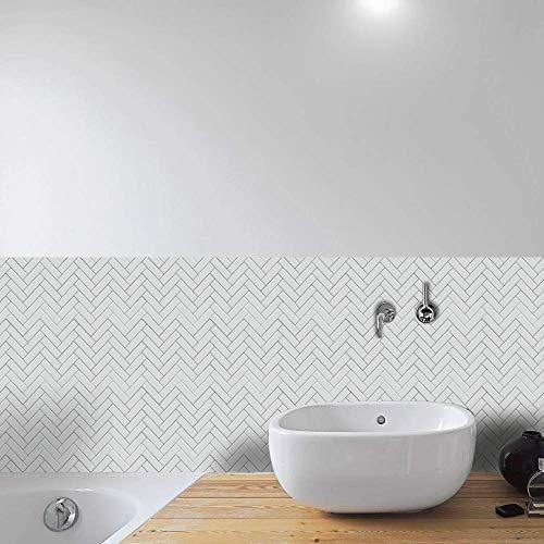 Hiser 24 Piezas Adhesivos Decorativos para Azulejos Pegatinas para Baldosas del Baño/Cocina Estilo Geométrico Resistente al Agua Pegatina de Pared (Estilo Espina de Pescado Blanco,30cm)