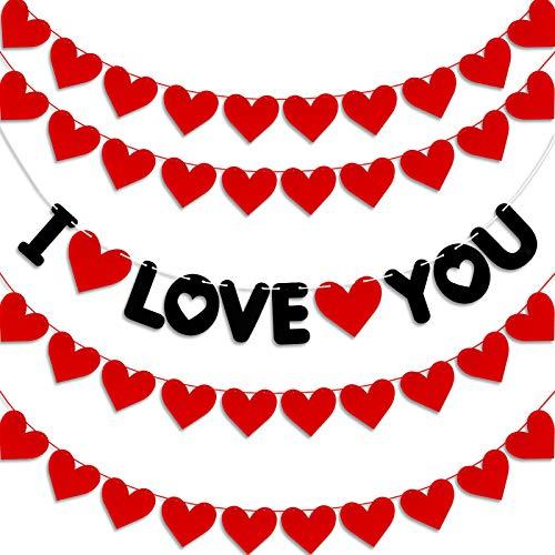 Qpout Valentine's Day Decoration, I Love You Decoration Banner, 5pcs Hearts Garland