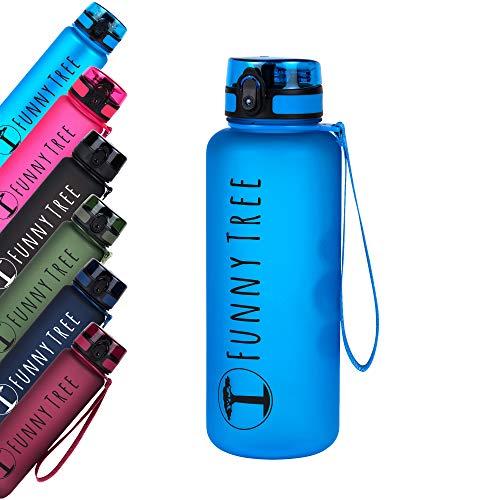 Funny Tree Botella de Agua tritan. 1500ml Azul océano. Libre de BPA y a Prueba de Fugas! Ideal en el Gimnasio, para Entrenamiento de Fuerza y Bienestar, o en Todos Sus Viajes.
