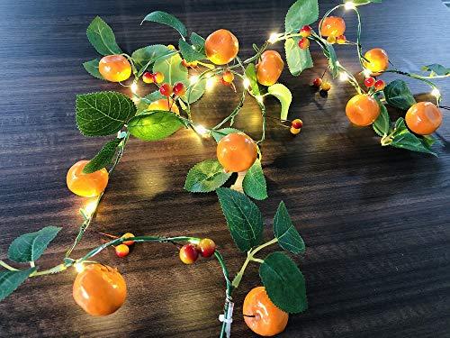 2m Künstliche Mandarine Lichterketten 20 LED Obstreben Feenlampe Batterie Angetrieben für Weihnachten Urlaub Party Dekoration (Mandarinen, 1 Satz)