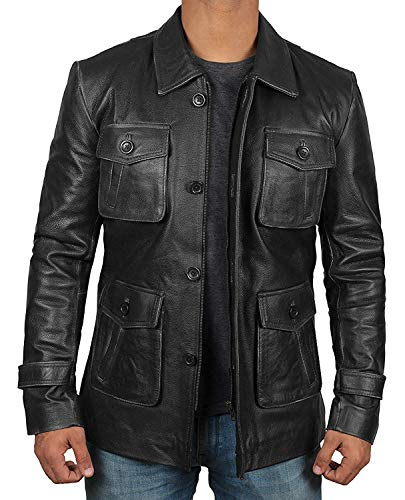 Black Mens Leather Car Coat Jacket - Genuine Lambskin Black Leather Coats for Men | [1100613] 4 Pocket, M