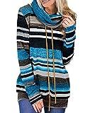 iChunhua Ladies Cowl Neck Jumper Striped Tunic Sweatshirt Drawstring Pullover Tops with Pocket Blue Medium