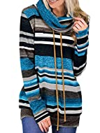 We have improved the previous fabric,striped sweatshirts are made of stretchy and soft warm but not thick fabric,lightweight and comfy to wear; Unique cowl neck with drawstring,banded hemline,striped long sleeve top,front pocket; Lightweight tunic to...