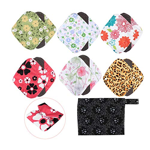 Kireina Reusable Anti Allergy Menstrual Pad, 6PCS Washable Stain Proof Panty Liners Cloth Sanitary Pad With 1PC Wet Bag Pouch