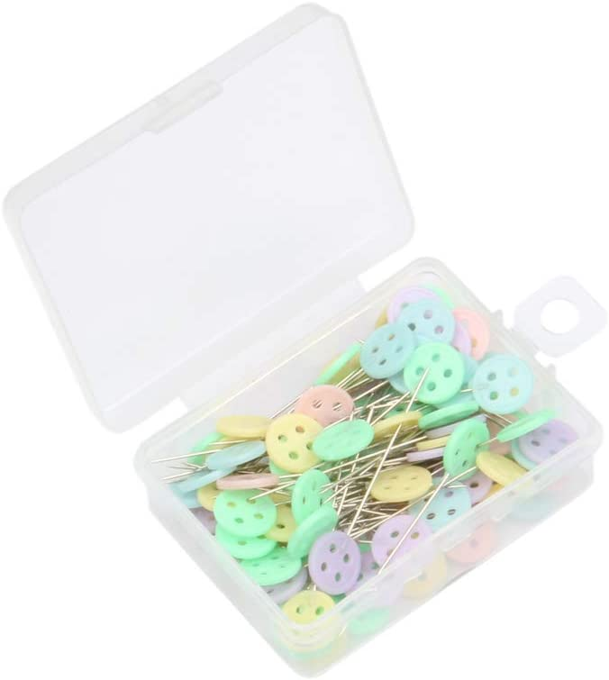 FeiHong 100 Pieces Sewing Pins 100 Pieces Flat Button Head Sewing Pins Flat Button Head Pins Straight Quilting Pins for DIY Dressmaker Jewelry Decoration with Transparent Box