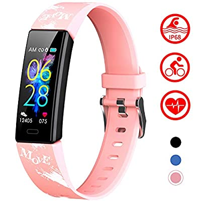 Mgaolo Slim Fitness Tracker for Kids Women,IP68 Waterproof Activity Tracker with Blood Pressure Heart Rate Sleep Monitor,11 Sport Modes Health Smart Watch with Pedometer Alarm Clock,Great Gift (Pink)