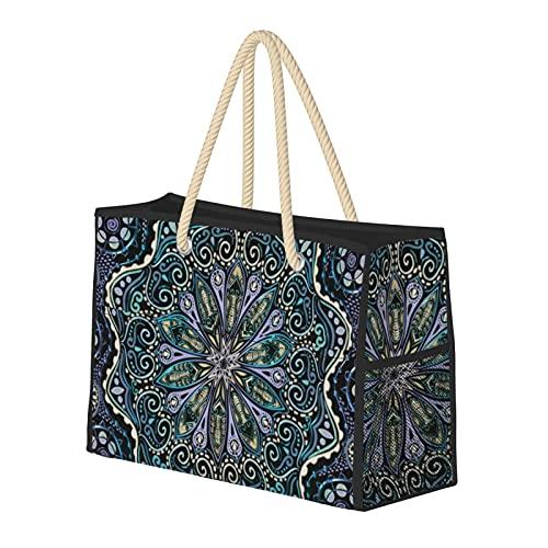 Bolsas de playa para mujer Mandala Cool Purple Blue Green Black New Age Boho Large Beach Tote Bolsa de viaje Bolsa de almacenamiento Bolsa de semana Bolsa de hombro para la playa, viajes y gimnasio
