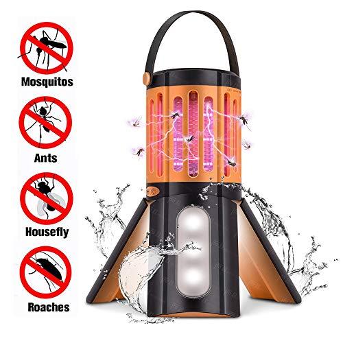 Lámpara antimosquitos IP67 Impermeable LED Camping Linterna Tienda de Tienda de campaña Insectos, Trampa de Insectos, portátil 2 en 1 Repelente de Insectos para Interiores y Exteriores