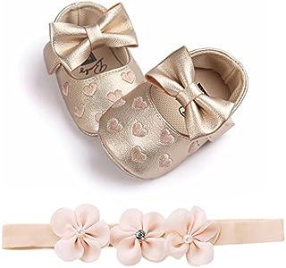 Ronamick - Patucos de bebé para aprender a andar, con bordado de piel, para bebé, niños, niños, antideslizantes, (Age:0-6 meses, oro)