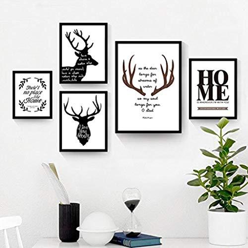 Jjek K- groot frame multi-frame 5 stks, creatieve foto muur, Antler Elk patroon, geschikt voor bank woonkamer muur ontwerp (zwart)