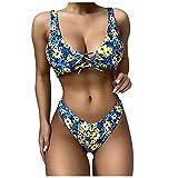 VODMXYGG Traje de baño de Mujer Dividido, con Encaje Floral y Sexy, para la Playa Mujer Brasileños Bikinis 0916541