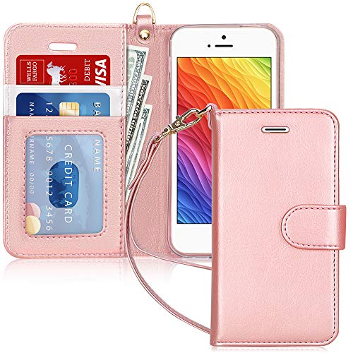 mollycoocle iphone case 5s FYY Wallet Phone Case for iPhone 5/5s/SE (1st gen-2016), [Kickstand Feature] Luxury PU Leather Flip Case Protective Cover with [Card Holder][Wrist Strap] for iPhone 5/5s/SE (1st gen-2016) Rose Gold