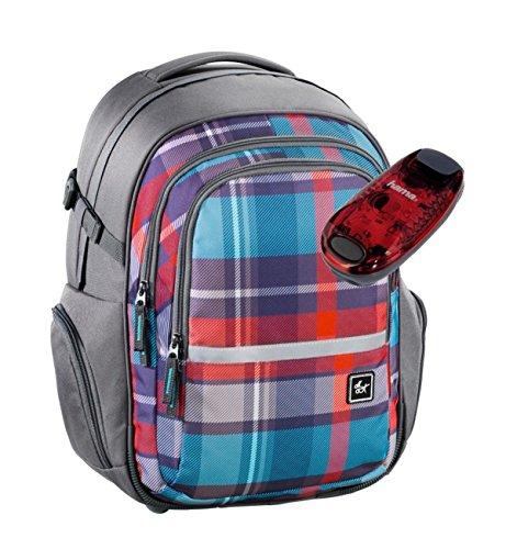 All Out Schulrucksack mit verstellbarem Tragesystem und LED-Sicherheitslicht - viele Farben und Dessins (Woody Grey)
