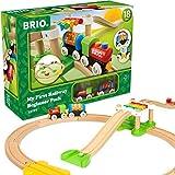 BRIO World 33727 Mein erstes BRIO Bahn Spiel Set – Zug mit Waggon, Schienen & Hängebrücke für Kleinkinder – Buntes BRIO Einsteiger-Set empfohlen ab 18 Monaten
