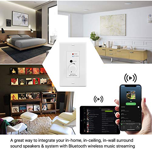 TNP in-Wall Bluetooth Audio Receiver Wall Plate, BT 4.2 Wireless Adapter 30W Stereo Amplifier aptX Audio w/Volume Control, 3.5mm Headphone AUX Input for Sound Speaker Systems Home Theater Integration