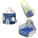 SM SunniMix 3 en 1 Tienda de Campaña Túnel de Arrastre Piscina de Bolas Estampado de Espacios Plegable Portátil Juego de Diversión para Niños - Espacio