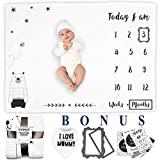 SZWICS Baby Monthly Milestone Blanket with Cards. Baby Shower Newborn Baby Boy Gifts. Bib & Photography Props to Capture Babies Growth and milestones. Baby Boy Stuff. 100% Soft Fleece. 1 to 12 Months