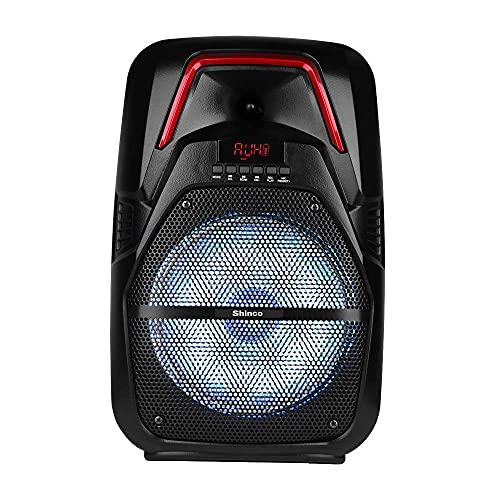 Shinco Altavoz Bluetooth con micrófono inalámbrico, sistema de altavoces PA portátil, subwoofer de 8 pulgadas, AUX, radio FM, USB, control remoto