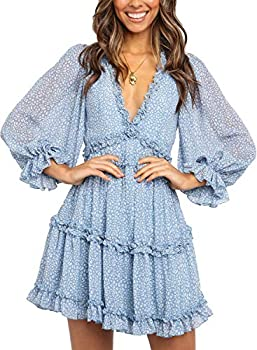 Dokotoo Womens Winter Casual Ladies Deep V Neckline Long Sleeve Leopard Print High Waist Mini Dress Fashion Skater A Line Ruffle Hem Flare Dresses Blue Small