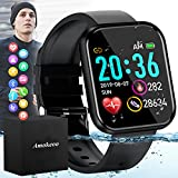 Amokeoo Smart Watch,Fitness Watch Activity Tracker with Heart Rate Blood Pressure Monitor IP67 Waterproof Touch Screen Bluetooth Smartwatch Sports Watch for Android iOS Phones Men Women 2021 New Black