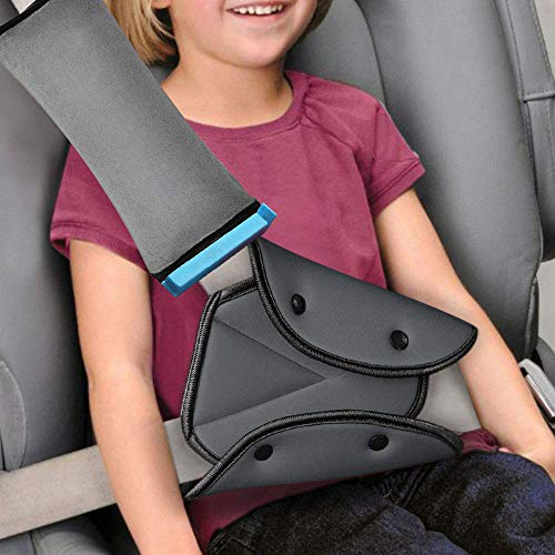 Seatbelt Pillow and Adjuster for Kids,Travel Seat Belt Cover with Clip & Seatbelt Adjuster,Soft Neck Support Headrest Car Seat Strap Protector Cushion Pads for Baby Child Short People Adult (Gray)