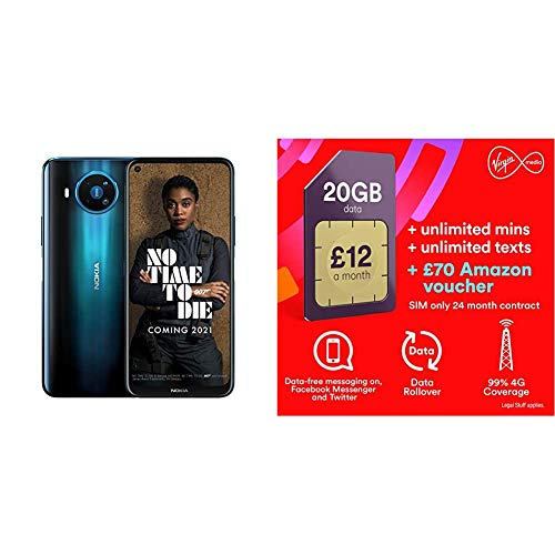 Nokia 8.3 5G 6.81 Inch Android UK SIM Free Smartphone with 5G Connectivity – 6 GB RAM and 64 GB Storage (Single SIM) – Polar Night with Virgin Sim Unlimited Text & Mins 20GB Data, £70 Amazon voucher
