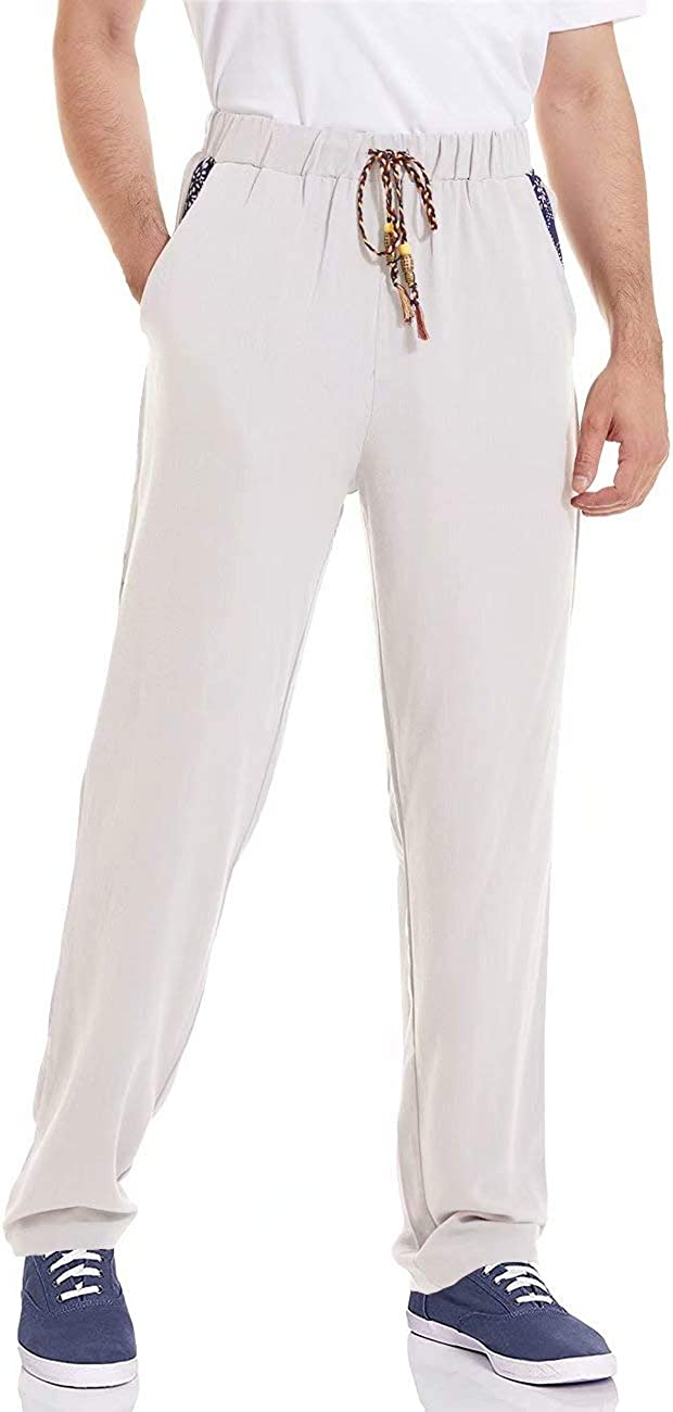 MAGCOMSEN Men's Linen Max 57% OFF Popular brand in the world Pants Waist Casual Drawstrin Elastic
