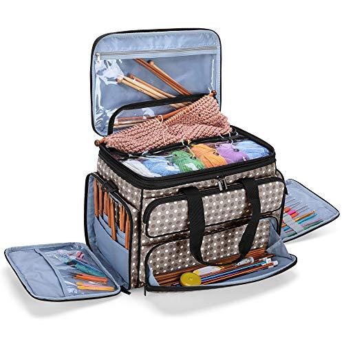 Yarwo Stricktasche zur Aufbewahrung von Wolle, Häkel Aufbewahrungstasche für Garn, Handarbeitstasche für Stricken Wolle und Häkel Zubehör, Grau Punkt