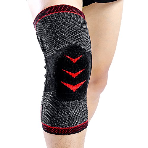 Kuangmi rodillera rótula menisco tendón estabilizar apoyo proteger ideal para Intenso ejercicios tenis fútbol Baloncesto montañismo etc,XL