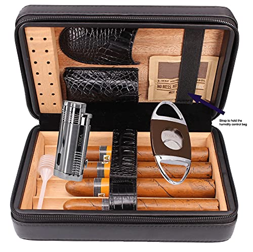 TOIKA Premium Black Leather Cigar Humidor Box, Convenient Cigar Case Holder with Cigar Lighter and Cutter Combo Set